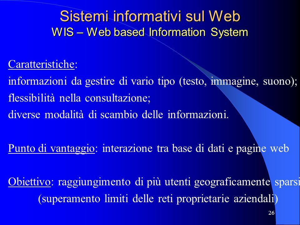 25 Basi di dati e World Wide Web Tecnologia Web: Nata come interfaccia per laccesso alle informazioni dei siti Negli ultimi anni sta diventando una pi