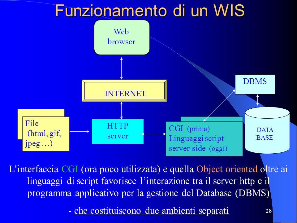 27 WIS -Web Information System- Attualmente maggior utilizzo: istituzioni pubbliche (raccolta, generazione e distribuzione di enormi quantità di infor
