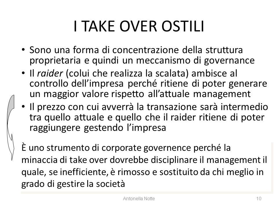 I TAKE OVER OSTILI Sono una forma di concentrazione della struttura proprietaria e quindi un meccanismo di governance Il raider (colui che realizza la