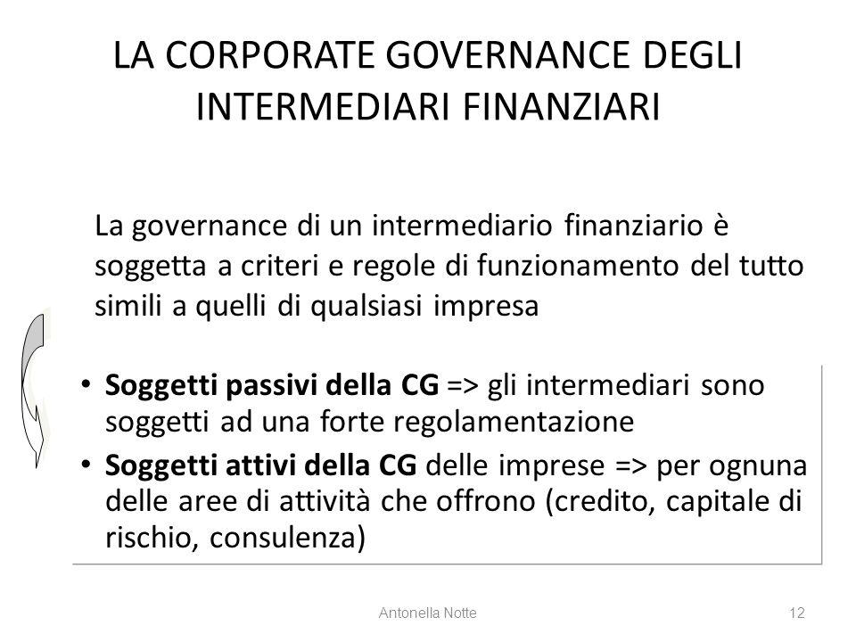 LA CORPORATE GOVERNANCE DEGLI INTERMEDIARI FINANZIARI Soggetti passivi della CG => gli intermediari sono soggetti ad una forte regolamentazione Sogget