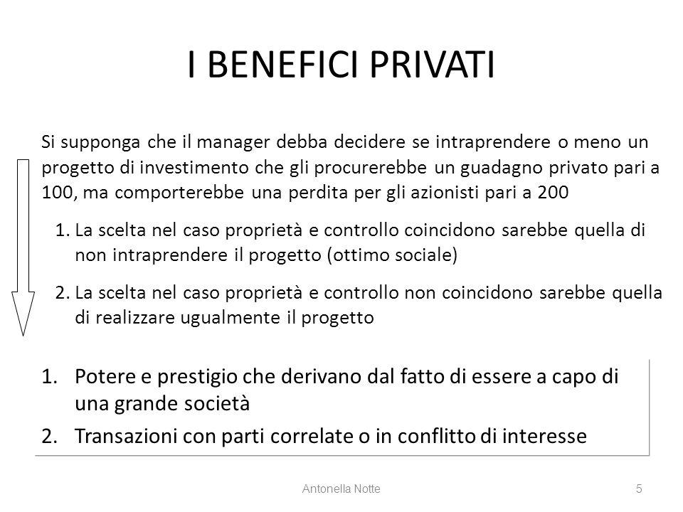 I BENEFICI PRIVATI 1.Potere e prestigio che derivano dal fatto di essere a capo di una grande società 2.Transazioni con parti correlate o in conflitto