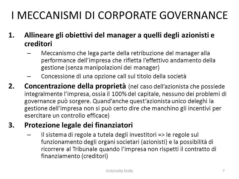 I MECCANISMI DI CORPORATE GOVERNANCE 1.Allineare gli obiettivi del manager a quelli degli azionisti e creditori – Meccanismo che lega parte della retr