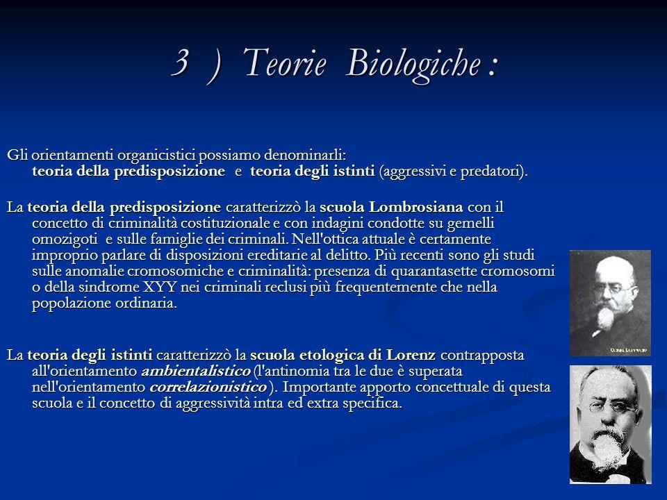 3 ) Teorie Biologiche : Gli orientamenti organicistici possiamo denominarli: teoria della predisposizione e teoria degli istinti (aggressivi e predato
