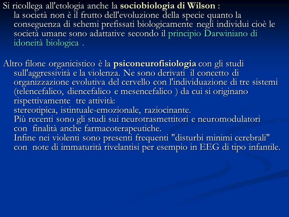 Si ricollega all'etologia anche la sociobiologia di Wilson : la società non è il frutto dell'evoluzione della specie quanto la conseguenza di schemi p