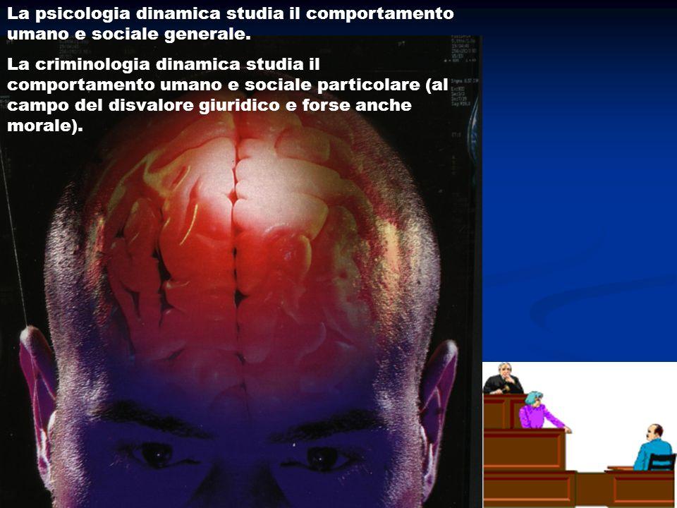 La psicologia dinamica studia il comportamento umano e sociale generale. La criminologia dinamica studia il comportamento umano e sociale particolare
