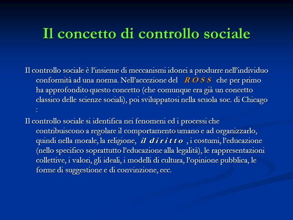 Il concetto di controllo sociale Il controllo sociale è linsieme di meccanismi idonei a produrre nellindividuo conformità ad una norma. Nellaccezione