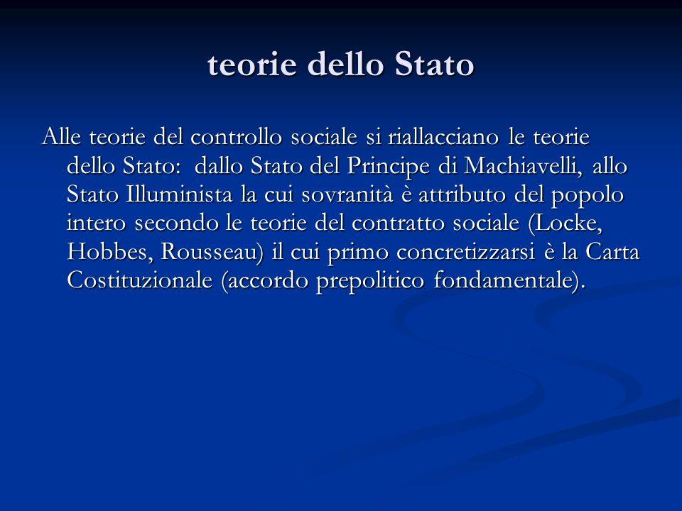 teorie dello Stato Alle teorie del controllo sociale si riallacciano le teorie dello Stato: dallo Stato del Principe di Machiavelli, allo Stato Illumi