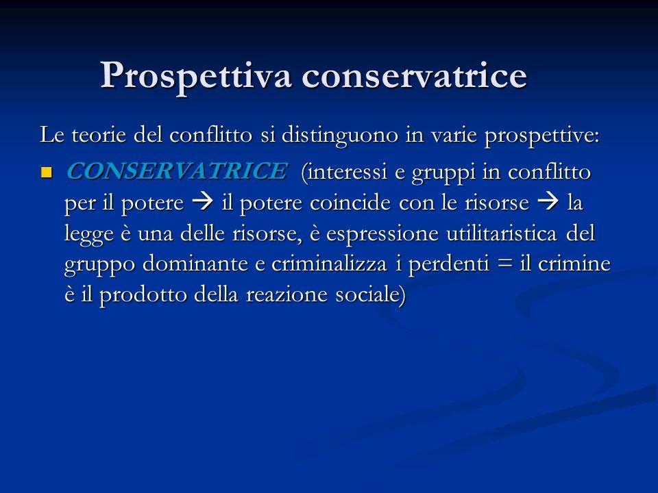 Prospettiva conservatrice Le teorie del conflitto si distinguono in varie prospettive: CONSERVATRICE (interessi e gruppi in conflitto per il potere il