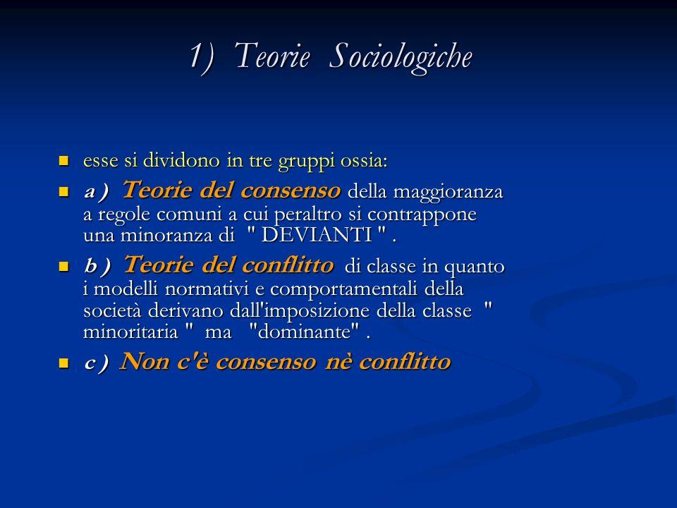 1) Teorie Sociologiche 1) Teorie Sociologiche esse si dividono in tre gruppi ossia: esse si dividono in tre gruppi ossia: a ) Teorie del consenso dell