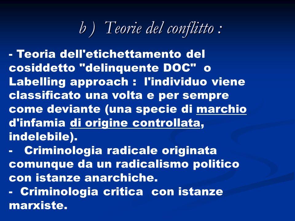 b ) Teorie del conflitto : - Teoria dell'etichettamento del cosiddetto