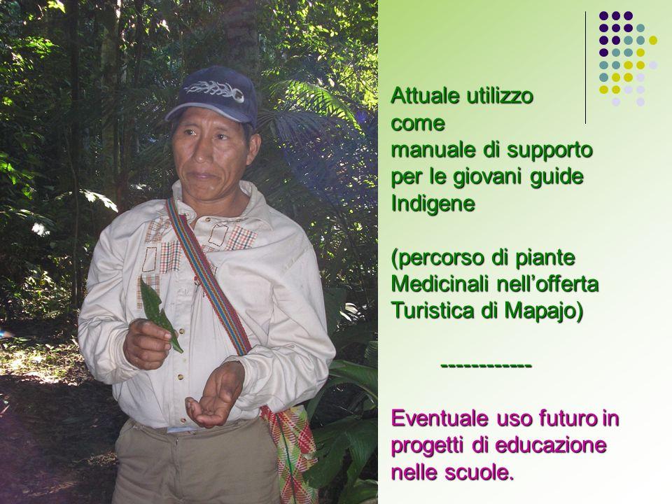 Attuale utilizzo come manuale di supporto per le giovani guide Indigene (percorso di piante Medicinali nellofferta Turistica di Mapajo) ------------ ------------ Eventuale uso futuro in progetti di educazione nelle scuole.