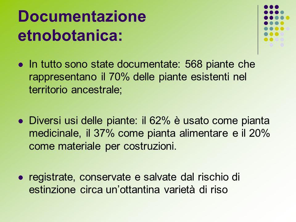 Documentazione etnobotanica: In tutto sono state documentate: 568 piante che rappresentano il 70% delle piante esistenti nel territorio ancestrale; Diversi usi delle piante: il 62% è usato come pianta medicinale, il 37% come pianta alimentare e il 20% come materiale per costruzioni.