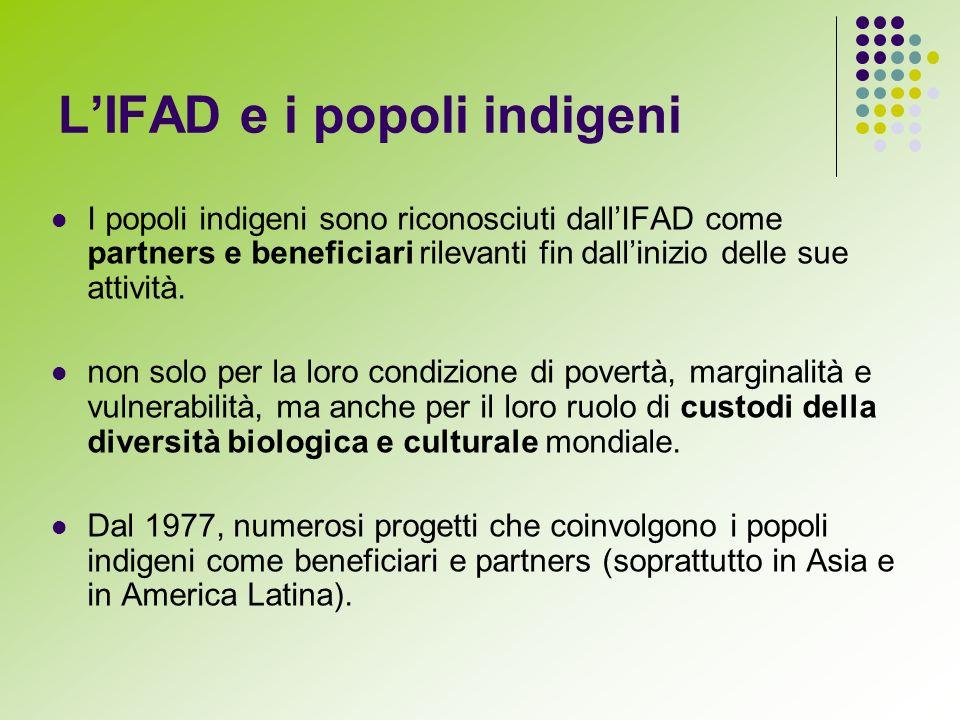 LIFAD e i popoli indigeni I popoli indigeni sono riconosciuti dallIFAD come partners e beneficiari rilevanti fin dallinizio delle sue attività.