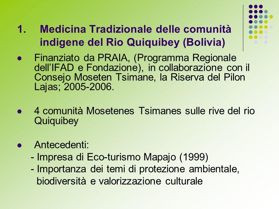 Finanziato da PRAIA, (Programma Regionale dellIFAD e Fondazione), in collaborazione con il Consejo Moseten Tsimane, la Riserva del Pilon Lajas; 2005-2006.