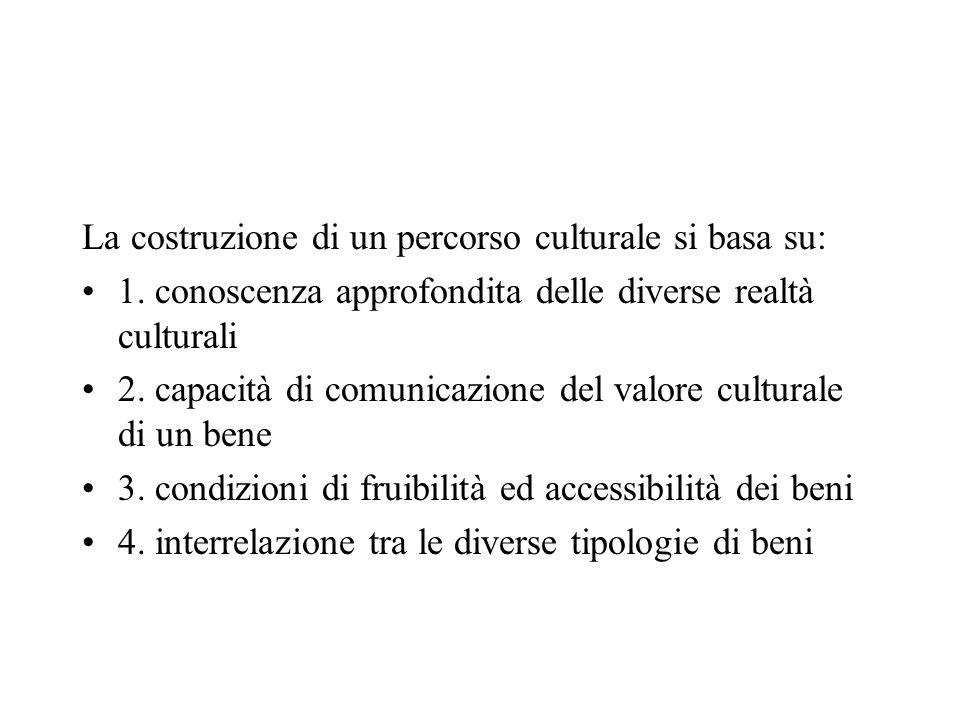 La costruzione di un percorso culturale si basa su: 1. conoscenza approfondita delle diverse realtà culturali 2. capacità di comunicazione del valore