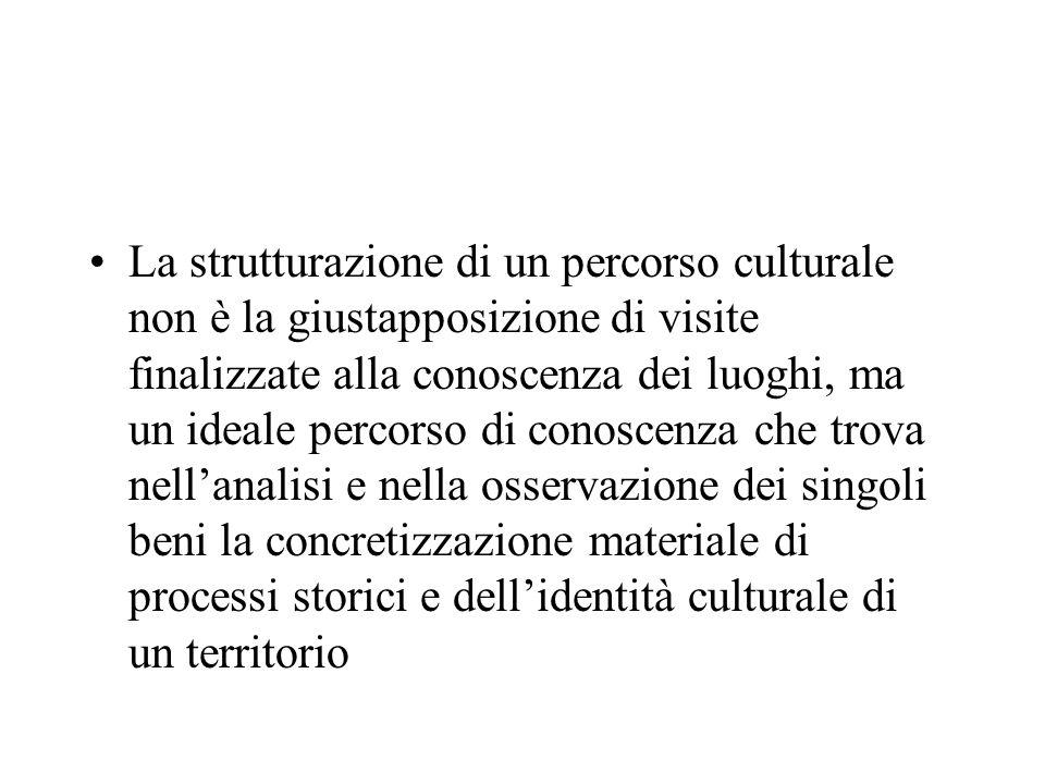 La strutturazione di un percorso culturale non è la giustapposizione di visite finalizzate alla conoscenza dei luoghi, ma un ideale percorso di conosc