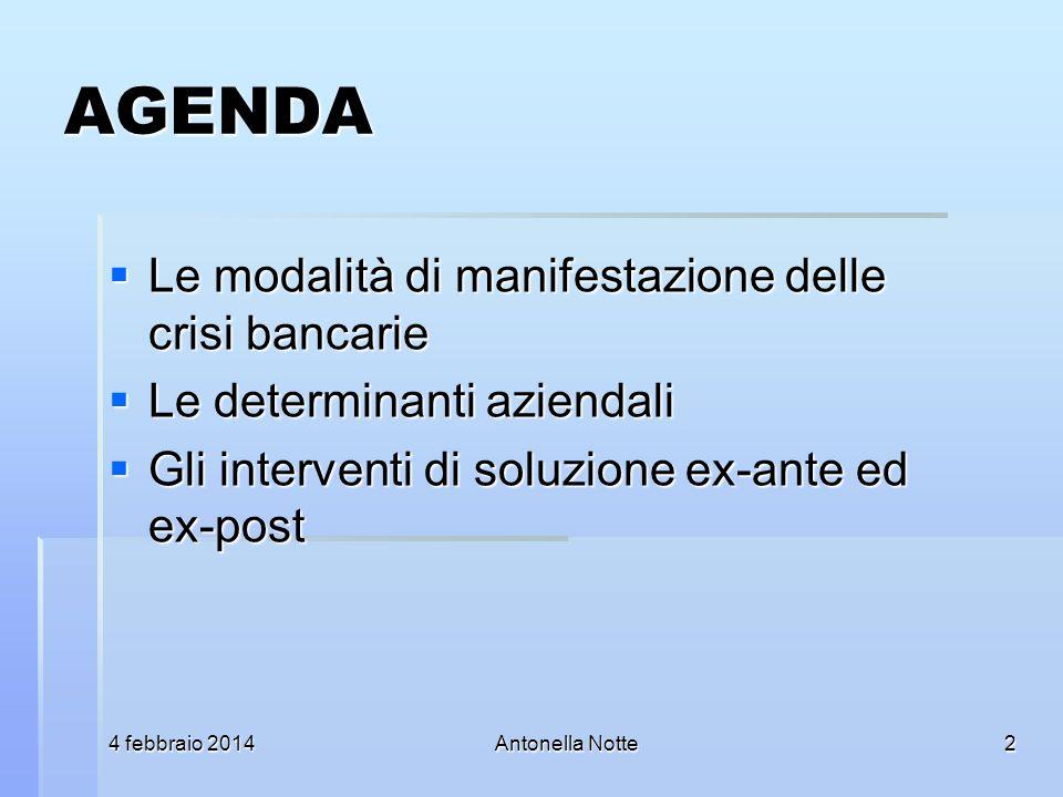 4 febbraio 20144 febbraio 20144 febbraio 2014Antonella Notte AGENDA Le modalità di manifestazione delle crisi bancarie Le modalità di manifestazione d