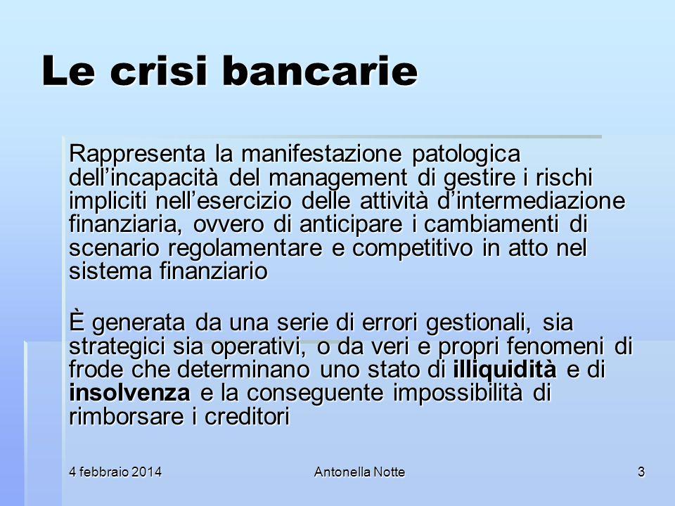 4 febbraio 20144 febbraio 20144 febbraio 2014Antonella Notte Le crisi bancarie Rappresenta la manifestazione patologica dellincapacità del management
