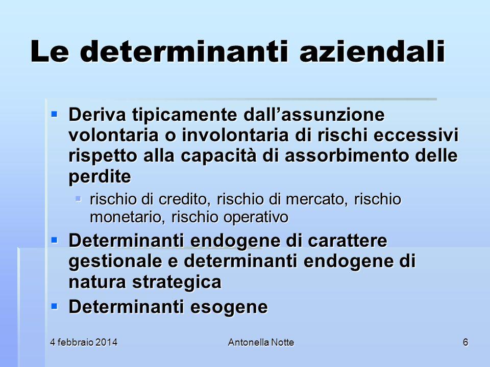 4 febbraio 20144 febbraio 20144 febbraio 2014Antonella Notte Le determinanti aziendali Deriva tipicamente dallassunzione volontaria o involontaria di