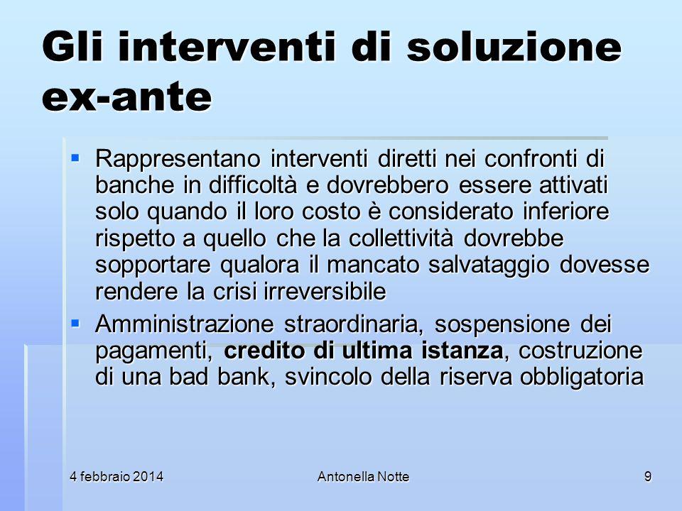 4 febbraio 20144 febbraio 20144 febbraio 2014Antonella Notte Gli interventi di soluzione ex-ante Rappresentano interventi diretti nei confronti di ban