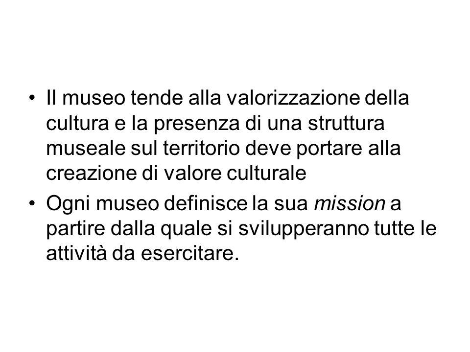Il museo tende alla valorizzazione della cultura e la presenza di una struttura museale sul territorio deve portare alla creazione di valore culturale