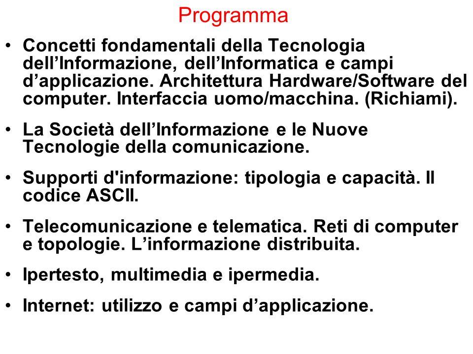 Programma Concetti fondamentali della Tecnologia dellInformazione, dellInformatica e campi dapplicazione. Architettura Hardware/Software del computer.