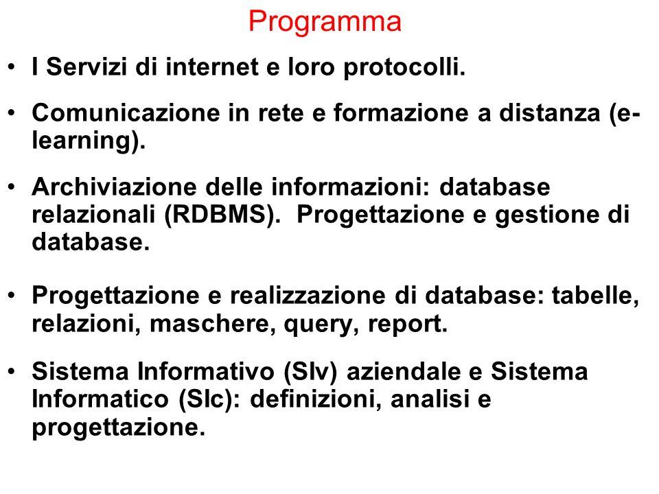 Programma I Servizi di internet e loro protocolli. Comunicazione in rete e formazione a distanza (e- learning). Archiviazione delle informazioni: data