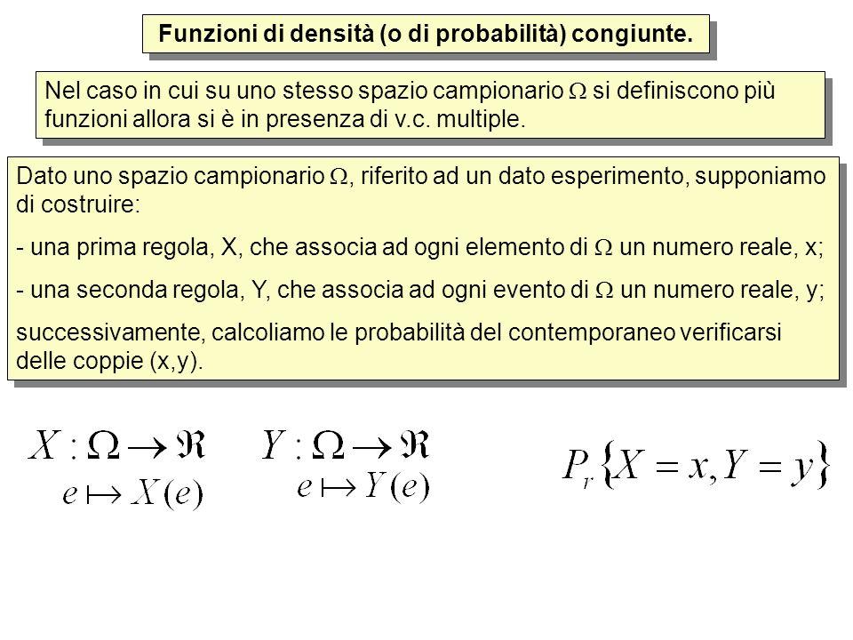 Funzioni di densità (o di probabilità) congiunte. Nel caso in cui su uno stesso spazio campionario si definiscono più funzioni allora si è in presenza