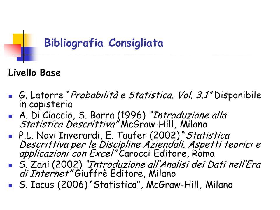 Bibliografia Consigliata Livello Base G. Latorre Probabilità e Statistica. Vol. 3.1 Disponibile in copisteria A. Di Ciaccio, S. Borra (1996) Introduzi