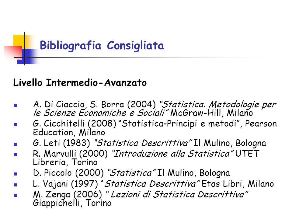 Livello Intermedio-Avanzato A. Di Ciaccio, S. Borra (2004) Statistica. Metodologie per le Scienze Economiche e Sociali McGraw-Hill, Milano G. Cicchite