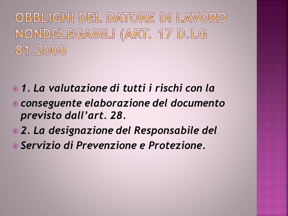 1.La valutazione di tutti i rischi con la conseguente elaborazione del documento previsto dallart.