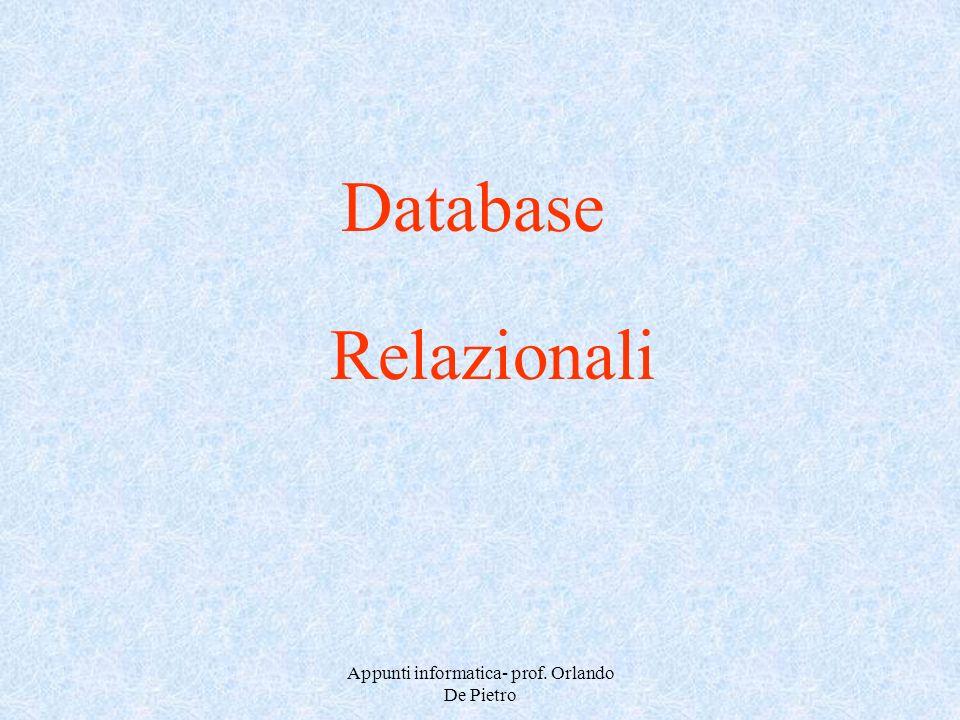 Appunti informatica- prof. Orlando De Pietro Database Relazionali