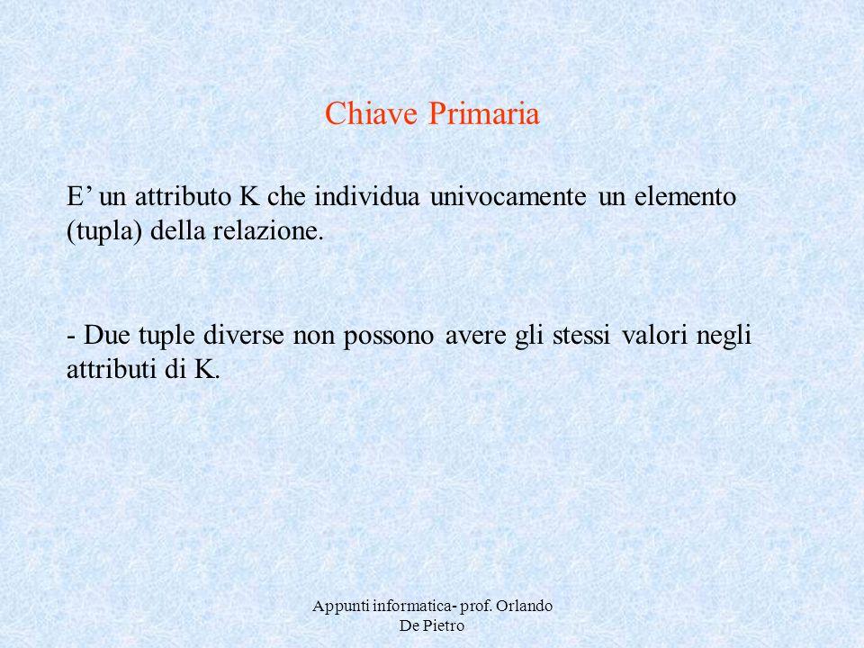 Appunti informatica- prof. Orlando De Pietro Chiave Primaria E un attributo K che individua univocamente un elemento (tupla) della relazione. - Due tu