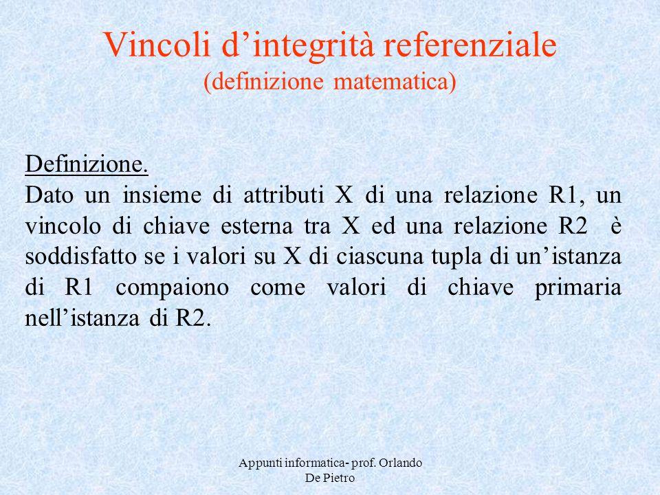 Appunti informatica- prof. Orlando De Pietro Vincoli dintegrità referenziale (definizione matematica) Definizione. Dato un insieme di attributi X di u