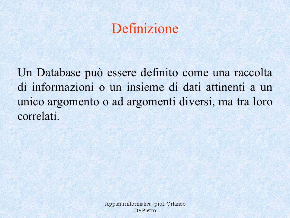 Appunti informatica- prof. Orlando De Pietro Definizione Un Database può essere definito come una raccolta di informazioni o un insieme di dati attine
