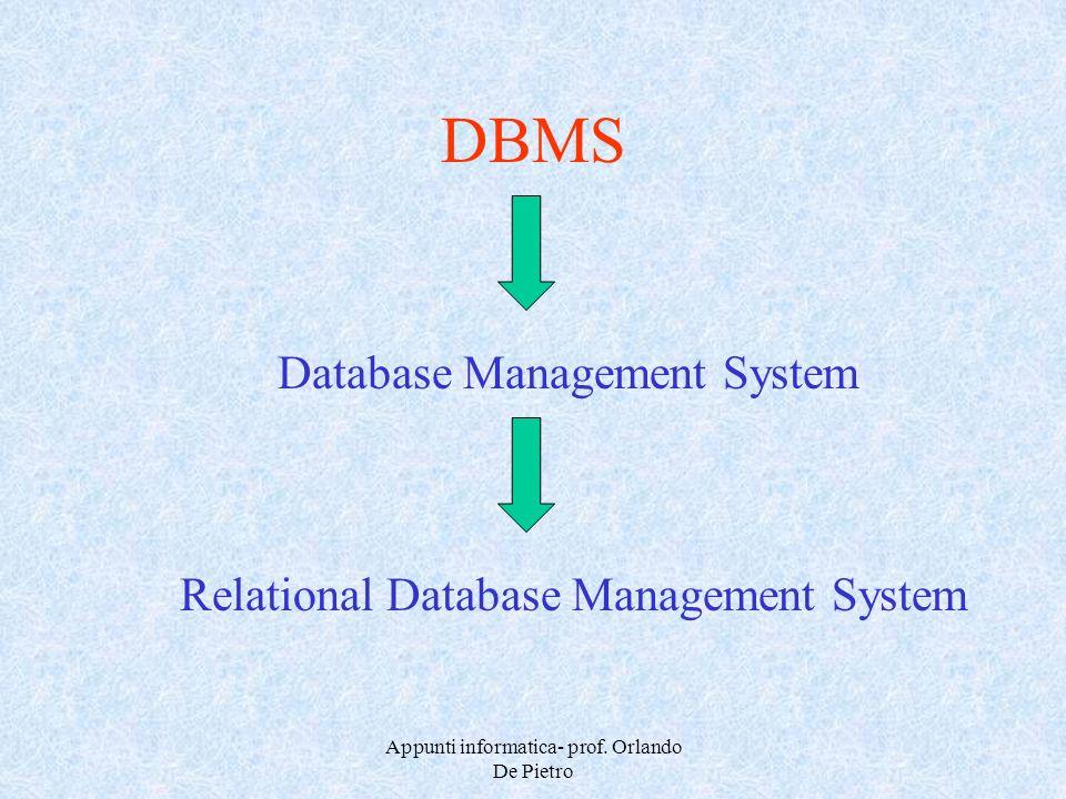 Appunti informatica- prof. Orlando De Pietro DBMS Database Management System Relational Database Management System
