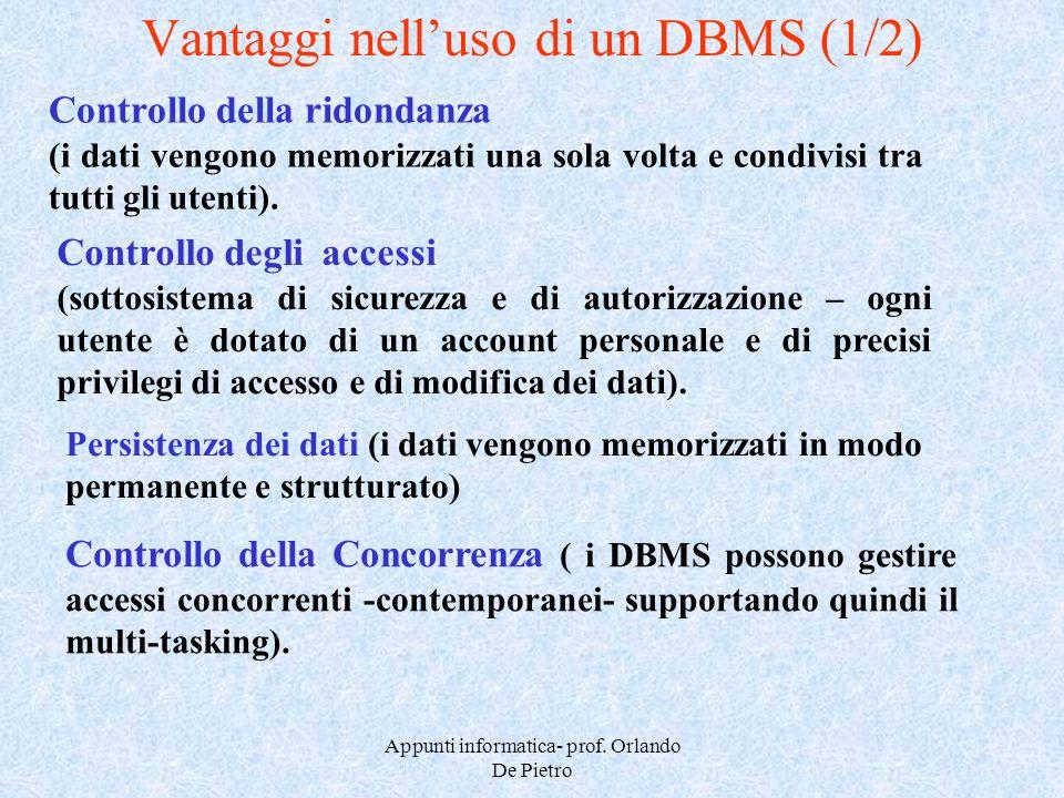 Appunti informatica- prof. Orlando De Pietro Vantaggi nelluso di un DBMS (1/2) Controllo della ridondanza (i dati vengono memorizzati una sola volta e