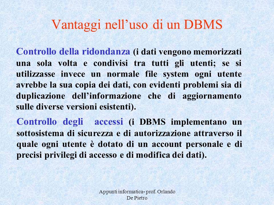 Appunti informatica- prof. Orlando De Pietro Vantaggi nelluso di un DBMS Controllo della ridondanza (i dati vengono memorizzati una sola volta e condi