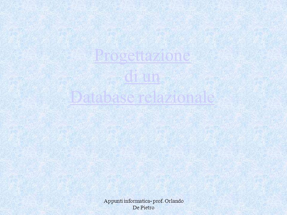 Appunti informatica- prof. Orlando De Pietro Progettazione di un Database relazionale
