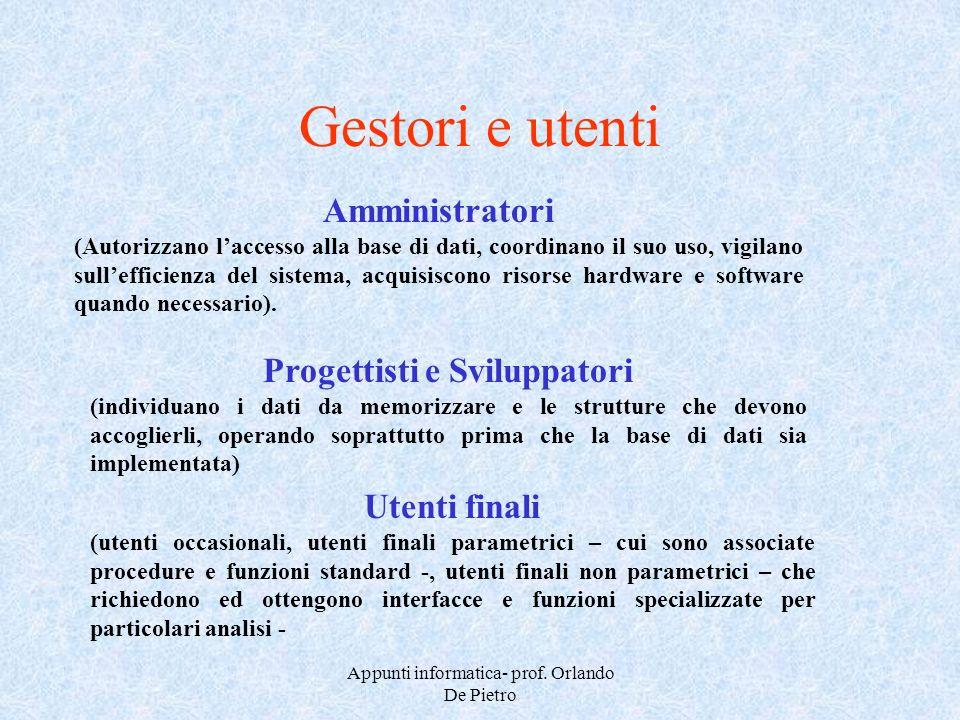 Appunti informatica- prof. Orlando De Pietro Gestori e utenti Amministratori (Autorizzano laccesso alla base di dati, coordinano il suo uso, vigilano