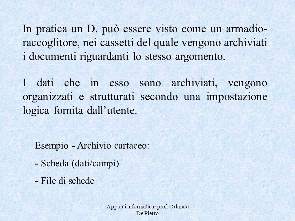 Appunti informatica- prof. Orlando De Pietro In pratica un D. può essere visto come un armadio- raccoglitore, nei cassetti del quale vengono archiviat