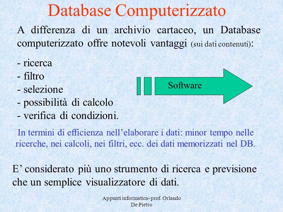 Appunti informatica- prof. Orlando De Pietro - ricerca - filtro - selezione - possibilità di calcolo - verifica di condizioni. Database Computerizzato