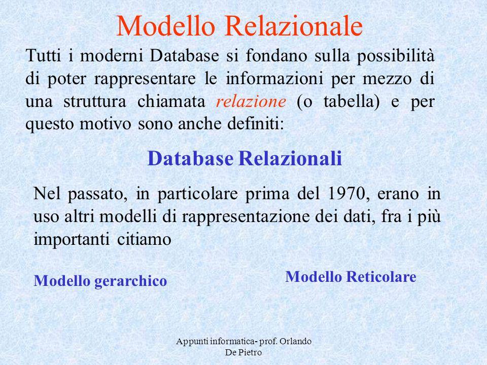 Appunti informatica- prof. Orlando De Pietro Modello Relazionale Tutti i moderni Database si fondano sulla possibilità di poter rappresentare le infor