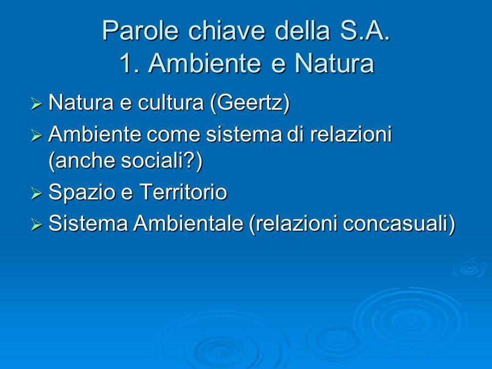 Parole chiave della S.A. 1. Ambiente e Natura Natura e cultura (Geertz) Natura e cultura (Geertz) Ambiente come sistema di relazioni (anche sociali?)