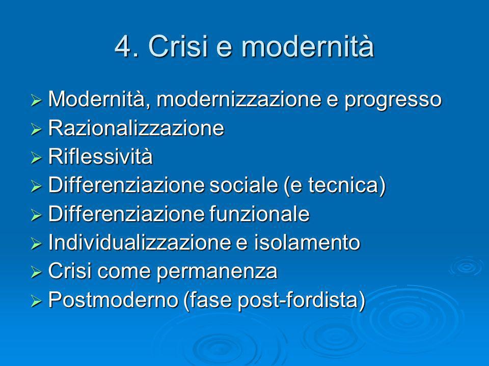 4. Crisi e modernità Modernità, modernizzazione e progresso Modernità, modernizzazione e progresso Razionalizzazione Razionalizzazione Riflessività Ri