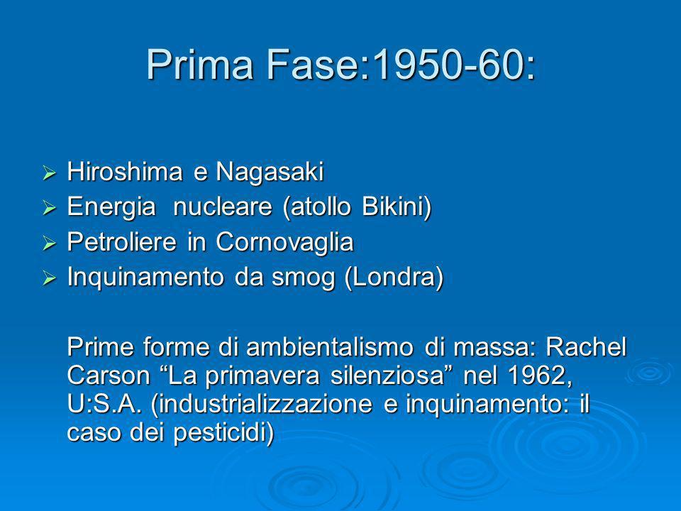 Prima Fase:1950-60: Hiroshima e Nagasaki Hiroshima e Nagasaki Energia nucleare (atollo Bikini) Energia nucleare (atollo Bikini) Petroliere in Cornovag