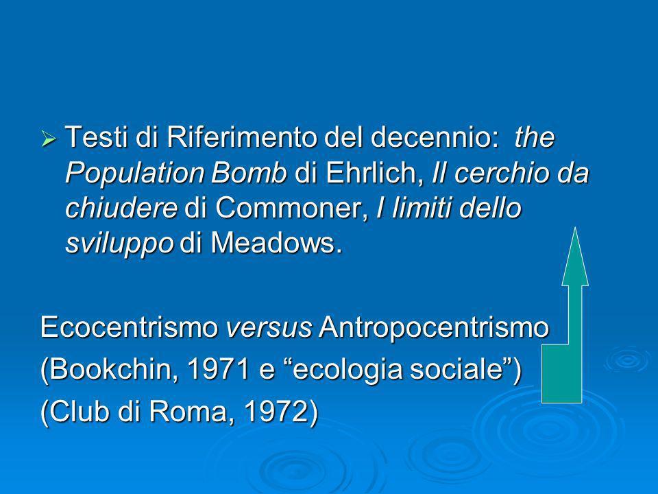 Testi di Riferimento del decennio: the Population Bomb di Ehrlich, Il cerchio da chiudere di Commoner, I limiti dello sviluppo di Meadows. Testi di Ri
