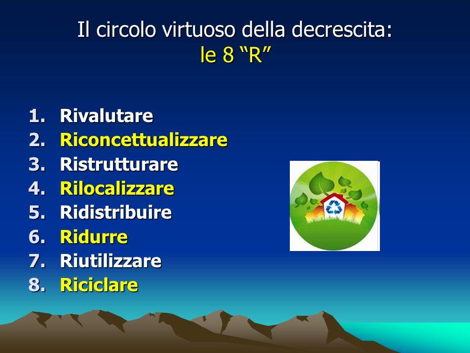 Il circolo virtuoso della decrescita: le 8 R 1.Rivalutare 2.Riconcettualizzare 3.Ristrutturare 4.Rilocalizzare 5.Ridistribuire 6.Ridurre 7.Riutilizzare 8.Riciclare