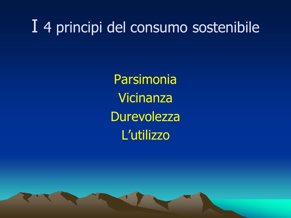 I 4 principi del consumo sostenibile Parsimonia Vicinanza Durevolezza Lutilizzo