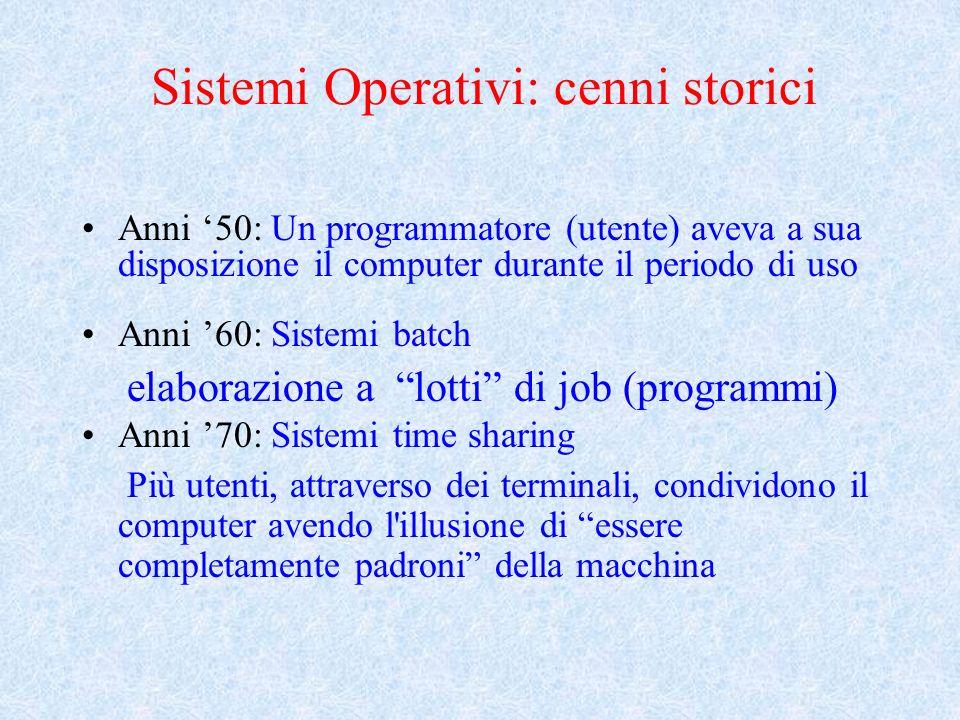 Sistemi Operativi: cenni storici Anni 50: Un programmatore (utente) aveva a sua disposizione il computer durante il periodo di uso Anni 60: Sistemi batch elaborazione a lotti di job (programmi) Anni 70: Sistemi time sharing Più utenti, attraverso dei terminali, condividono il computer avendo l illusione di essere completamente padroni della macchina